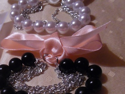 Handmade Ribbon and pearl bracelet TUTORIAL
