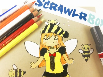 HONEY BEE FAIRY CHIBI DRAWING Scrawlrbox challenge artwork challenge | how to draw  speedpaint