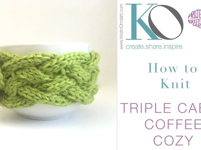 How to Knit Triple Cable Coffee Cozy