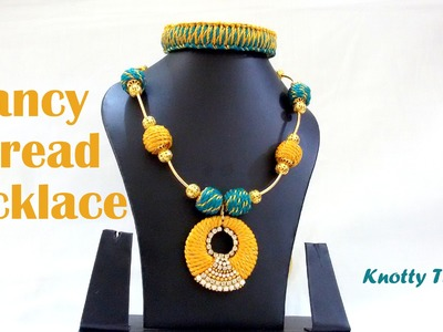 How to make a Fancy Thread Necklace at Home | Tutorial !!