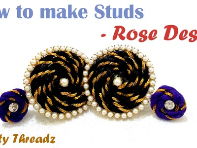 How to make Studs using Fancy Dori - Rose Design at Home | Tutorial !!