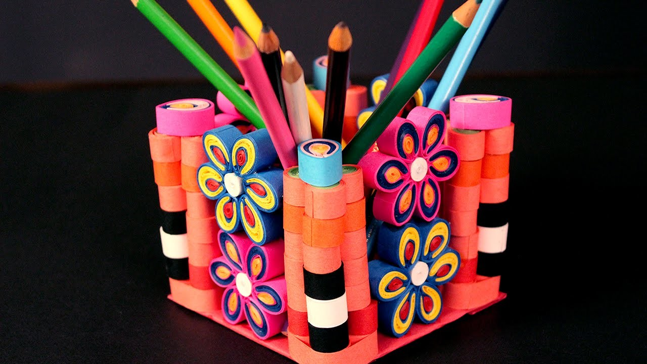 Paper quilling craft tutorial 3 how to make pen holder for Quilling paper craft
