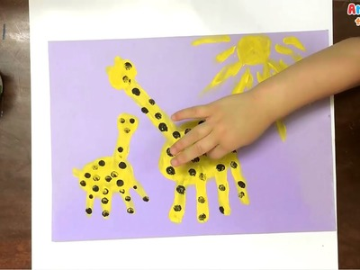 Hand painting for kids | How to draw a giraffe for kids | Painting animals for kids | Art for kids