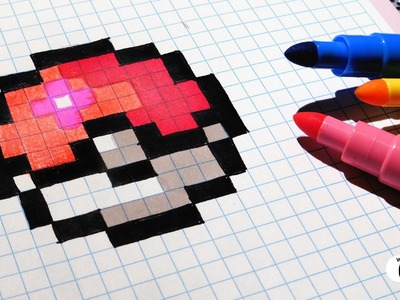Handmade Pixel Art - How To Draw Easy Pokeball #pixelart