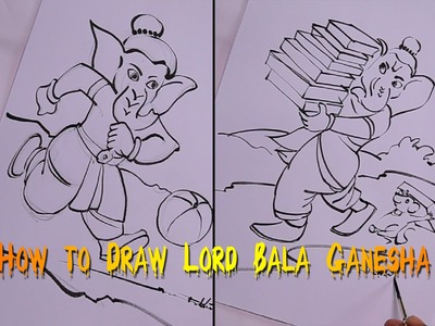 How to Draw Lord Bala. Child Ganesha Drawing for Kids