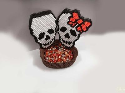 How to make 3d Origami Basket or Bowl - Skulls (halloween) - part 2