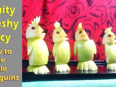 How To Make Apple Penguins -  Fruit Apple Carving Art & Designs