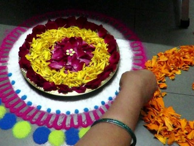 How to make rangoli design around table - created by latest rangoli