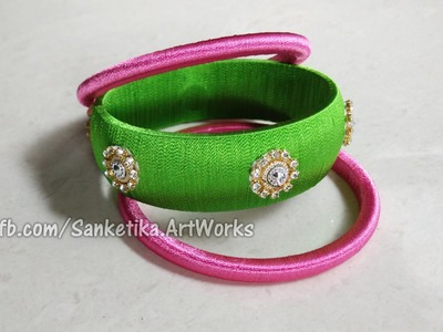 How To Make Silk Thread Bangles With Kundans - DIY Fancy Bangles