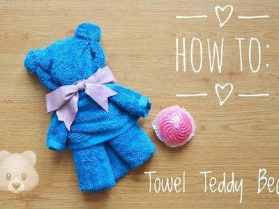 How to: TOWEL TEDDY BEAR tutorial!!! (English) || itskarlawithak