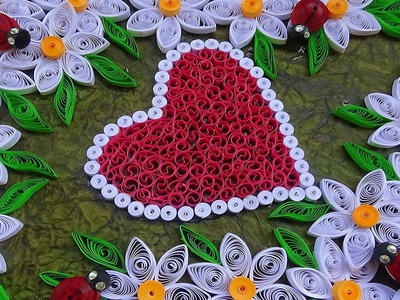 Quilling | How to make Valentine's Day or Birthday card with wonderful White flowers and hearts