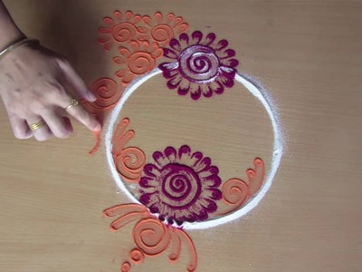 Rangoli design |  simple rangoli design | rangoli design with dots | how to make rangoli designs