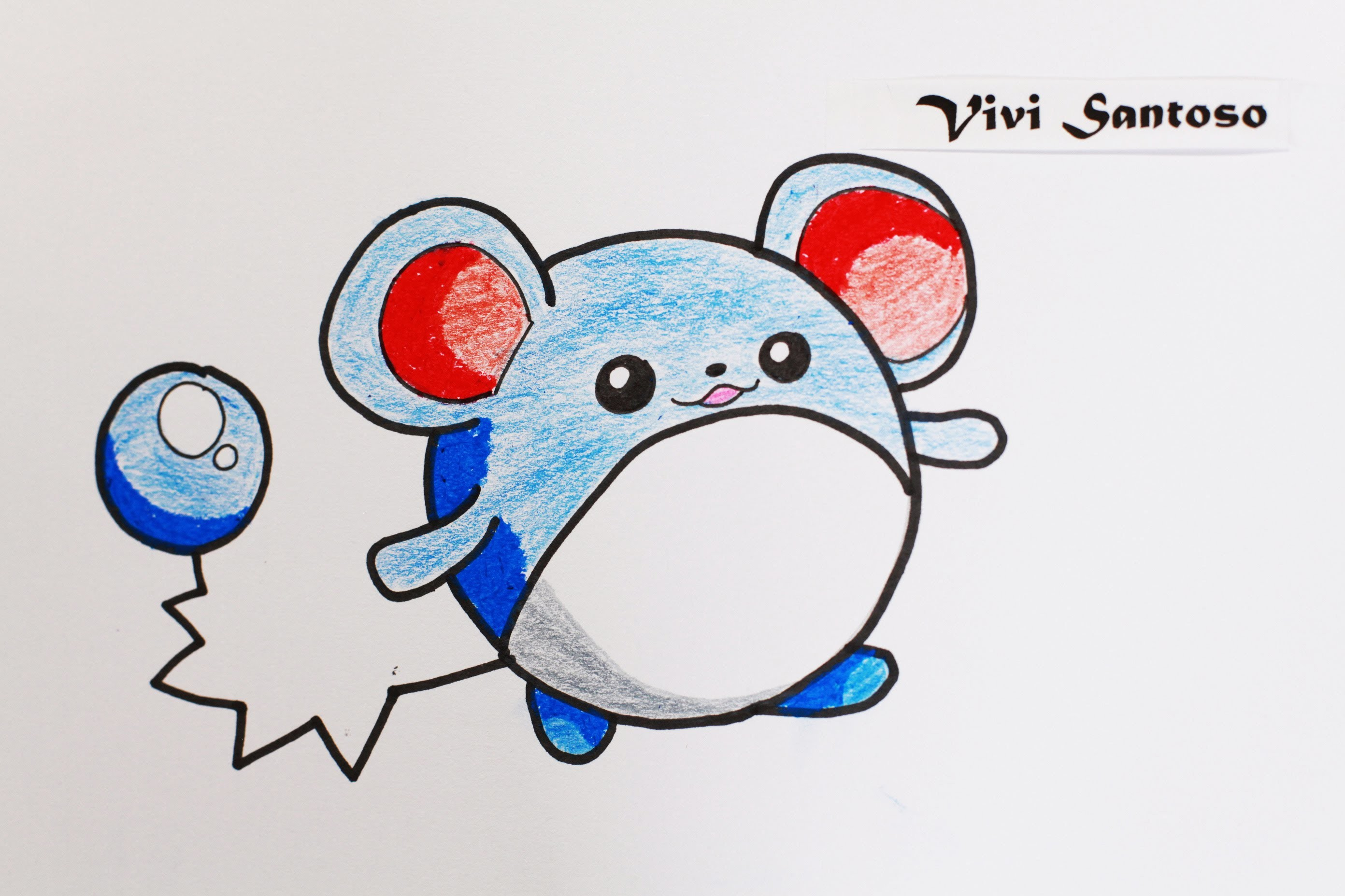 63 How to Draw Pokemon Aqua Mouse MARILL ☆ Step by Step