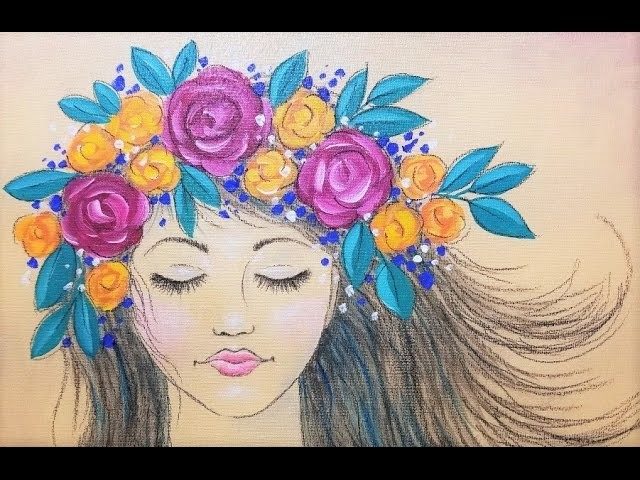Bohemian Girl with Flowers Acrylic Painting | Live Beginner Art Lesson | How to Paint and Draw Faces