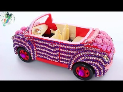 DIY How To Make Peppa Pig Family Toy Car Colors Flower Glitter Pearls Gems | Wheels On The Bus