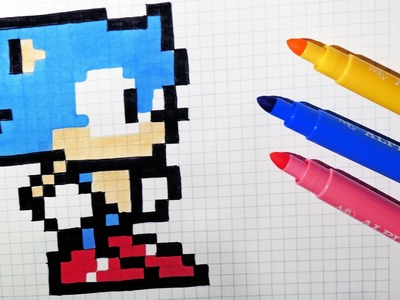 Handmade Pixel Art - How To Draw Kawaii Sonic #pixelart