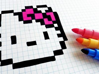 Handmade Pixel Art - How To Draw Hello Kitty #pixelart