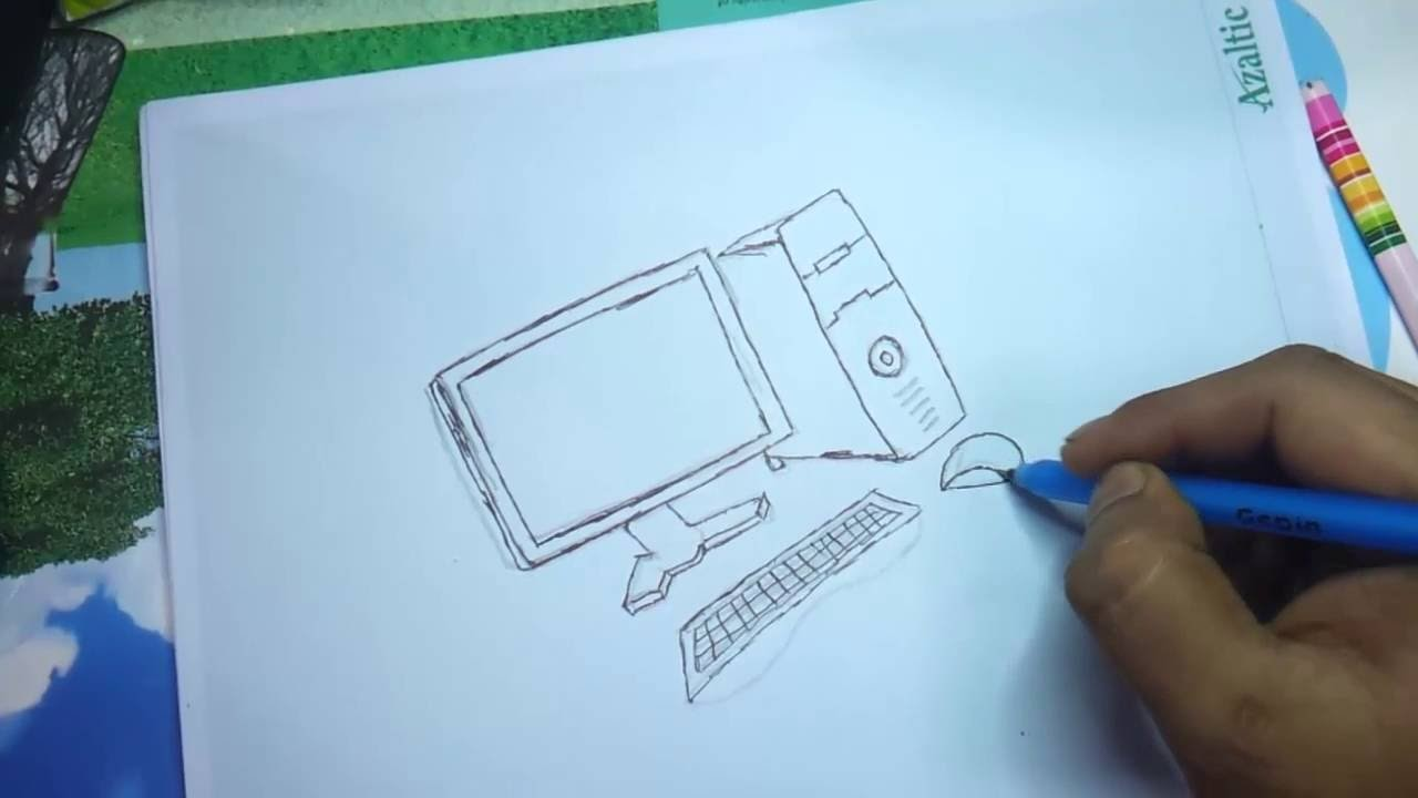 How to draw a computer for kids