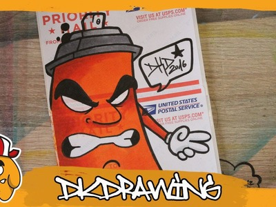 How to draw a graffiti spraycan character on a USPS sticker blank