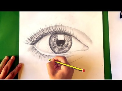 How to draw a realistic eye tutorial (one pencil )TIME LAPSE رسم عين
