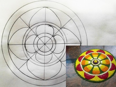 How to draw a simple onam atha pookalam