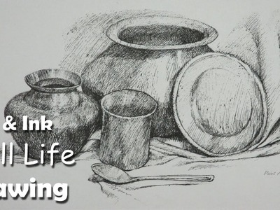 How to Draw A Still Life :  Drawing Utensils & Dishes | Step by step