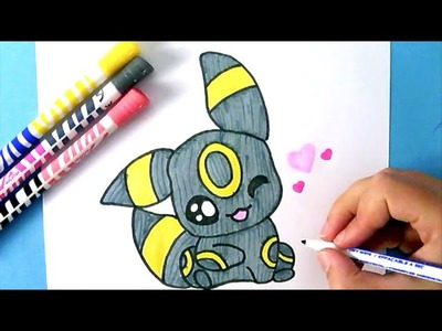 How to Draw CUTE BABY UMBREON (POKEMON GO)   - Como Dibujar a UMBREON KAWAII BEBé