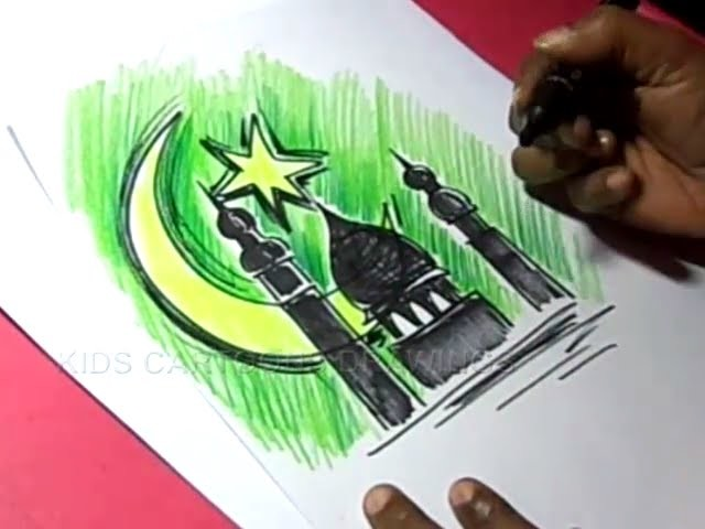 How to Draw Simple Bakrid Greeting Drawing for Kids Step by step