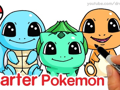How to Draw Squirtle, Bulbasaur and Charmander step by step Cute -Pokemon Go Starter