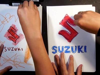 How to draw SUZUKI logo. AUTO LOGO car