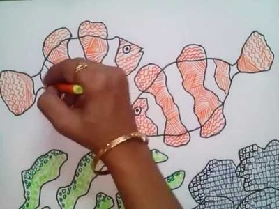 How to draw underwater scene using colored pen