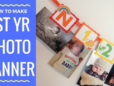 How to make a First year photo birthday banner Noahs ark theme