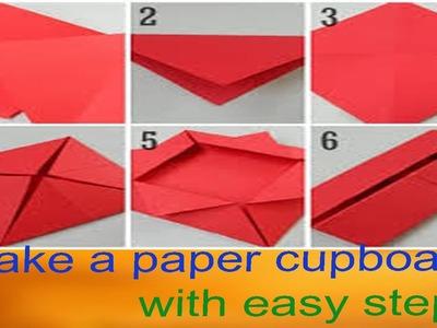 How to make a paper fold item, make a origami paper cupboard, kids tutorial