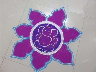 How to make ganesh rangoli design - created by rangoli design - part -1
