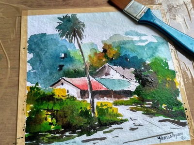 How to Make Landscape in Watercolor by david sonowal, watercolor painting for beginners