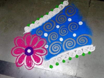 How to make new fancy & beautiful rangoli design - created by latest rangoli