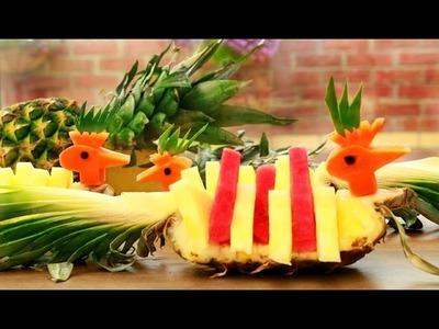 How To Make Pineapple Peacocks   Fruit Carving Garnish   Food Art Decoration