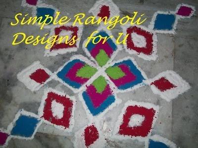 How to make Rangoli with simple a geometric shape.Beautiful Rangolis for Diwali.Ganesh chaturthi