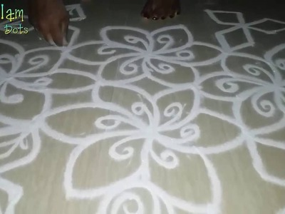 How to put simple rangoli designs with 6 -1 dots -  designs for beginners -  Flower rangoli!