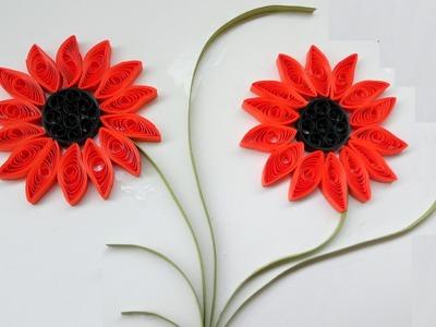 Paper Quilling Art |  How to make Beautiful Quilling Orange \ dark Flower design
