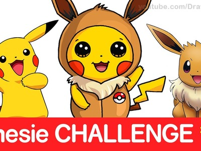Pokemon CHALLENGE - How to Draw Pikachu in Eevee Onesie step by step CUTE