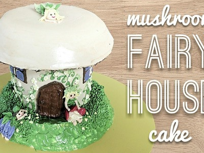 Relaxing cake decorating: Fairy house cake part 2: how to make a buttercream mushroom fairy house