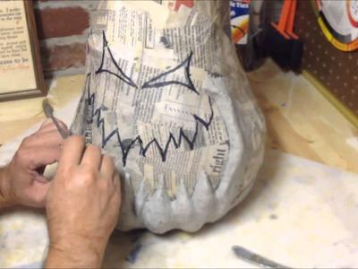 2nd generation paper mache pumpkin part 2
