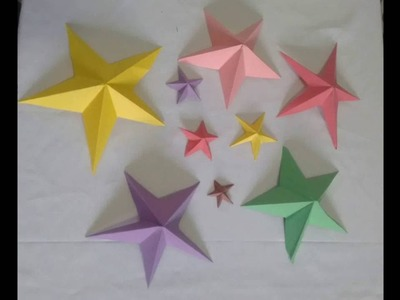 3D Star. paper star. holiday room decoration idea. origami paper star