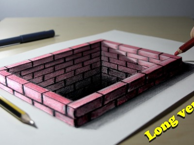 3D Trick Art on Paper Brick hole Long version