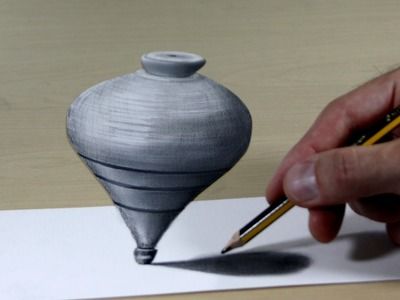 3D Trick Art on Paper, Wooden tops