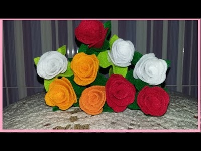DIY a rose from fabric - membuat bunga dari flanel