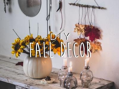 DIY: Fall Room Decor (Creepy Candles, Pumpkin Vase, Autumn Leaf Mobile)