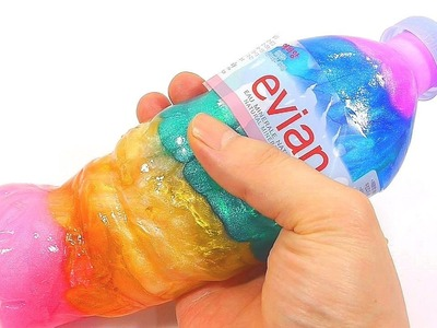 DIY How To Make Evian Water Bottle Slime Clay Learn Colors Glitter Toys ABC One Little Finger Family