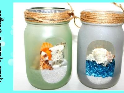 DIY Mason Jar Room Decor (Beach Themed!!)